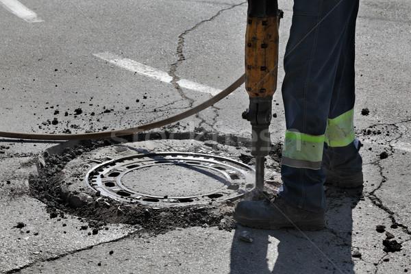 Asfalto trabajador carretera construcción Foto stock © simazoran