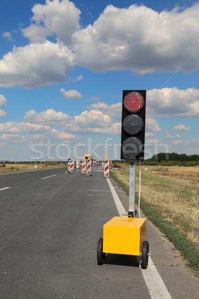 шоссе дороги реконструкция светофора дорожных знаков Blue Sky Сток-фото © simazoran