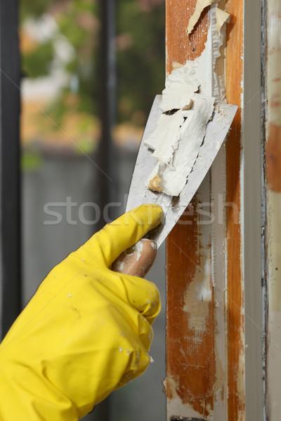 öreg ablak helyreállítás otthon rendbehoz munkás Stock fotó © simazoran