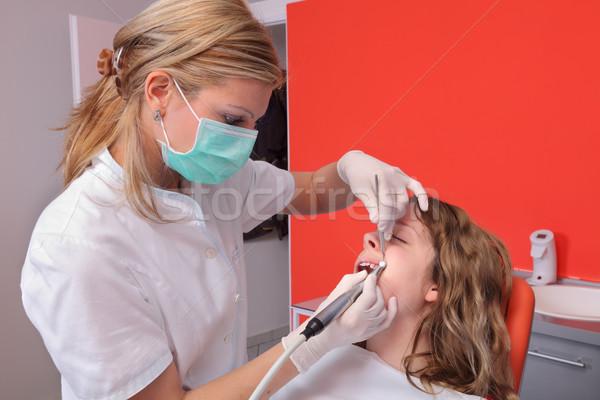 Fogápolás női fogorvos orvos takarítás fiatal Stock fotó © simazoran