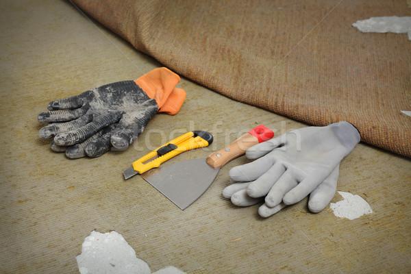 Home renovation, carpet remove tools Stock photo © simazoran