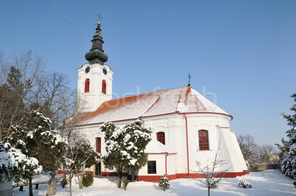 Ortodox templom keresztény égbolt hó istentisztelet Stock fotó © simazoran