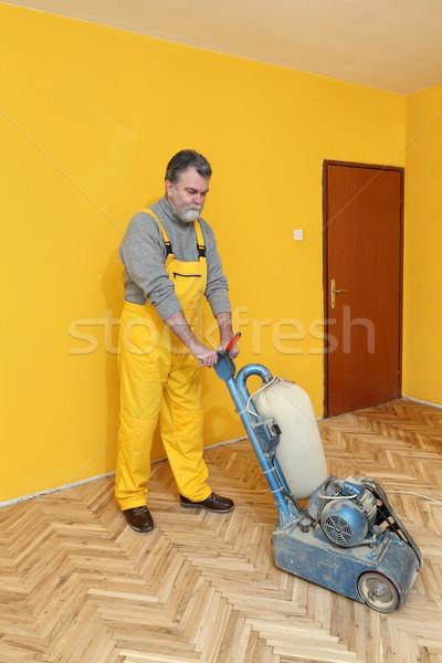 Home renovation, parquet sanding Stock photo © simazoran