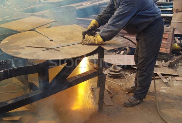 Plazma vág fém újrahasznosítás felszerlés kéz Stock fotó © simazoran