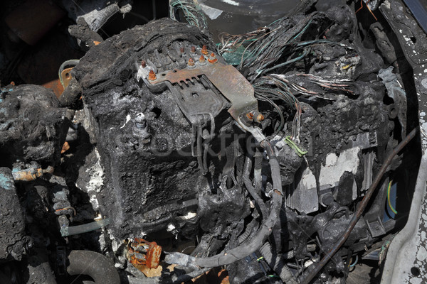 Automotive, burned car battery Stock photo © simazoran