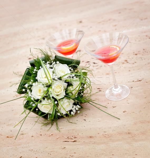 свадьба красивой невест букет два очки Сток-фото © simazoran