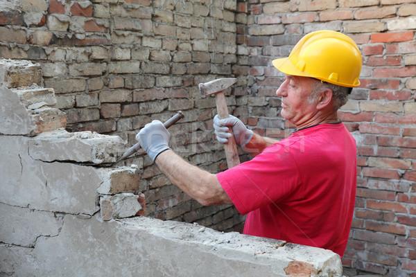 Construction site, old building demolishing Stock photo © simazoran