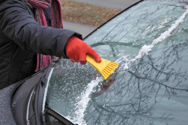 Ice cleaning from windshield Stock photo © simazoran