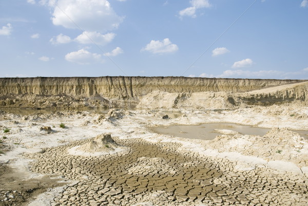 Paisagem amarelo argila secar terra blue sky Foto stock © simazoran