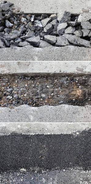 Asfalt tamir kırık yol yapımı Stok fotoğraf © simazoran
