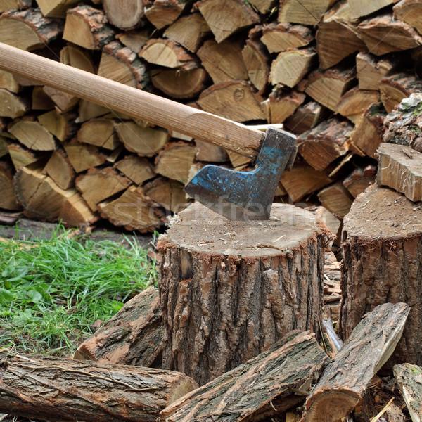 Bijl brandhout boom metaal industrie Stockfoto © simazoran