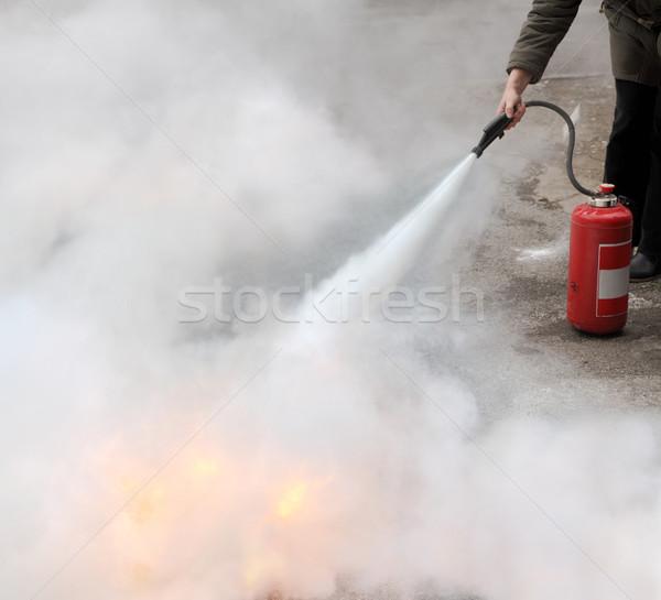 огня женщину огнетушитель свет безопасности Сток-фото © simazoran