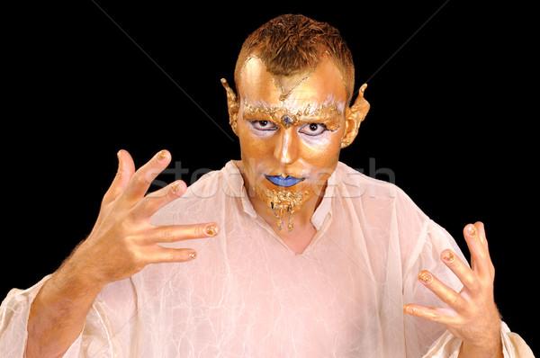 Máscara retrato jóvenes artístico pintado Foto stock © simazoran