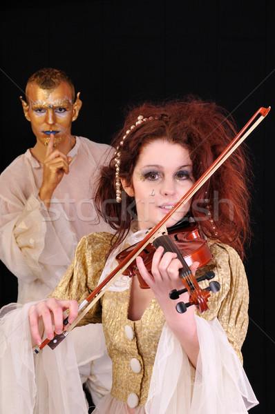 Música joven nina jugando violín caras Foto stock © simazoran