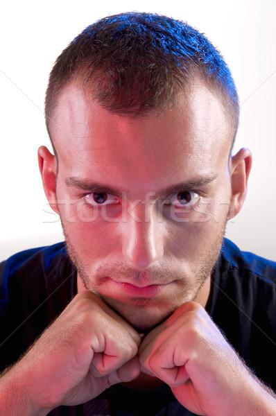 Genç stüdyo genç kafkas öfkeli adam Stok fotoğraf © simazoran