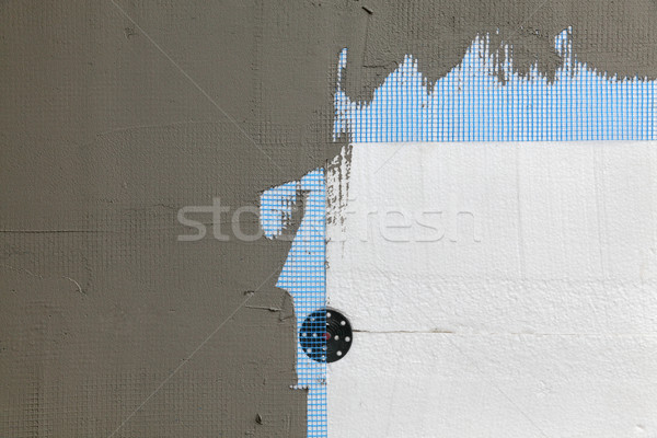 Wall insulation, styrofoam, mesh and mortar Stock photo © simazoran
