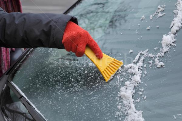 Automotive, ice cleaning from windshield Stock photo © simazoran
