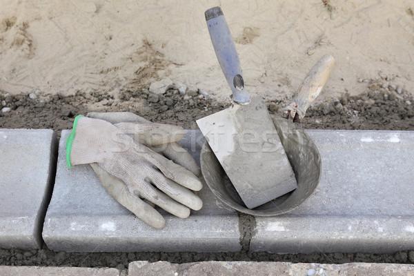 каменщик оборудование инструменты каменные дороги Сток-фото © simazoran