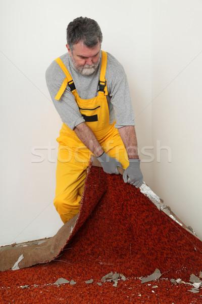Home renovation, old carpet remove Stock photo © simazoran