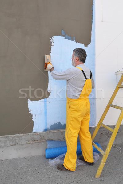 Stock photo: House renovation, polystyrene wall insulation