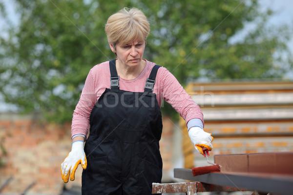 Fém festmény mérges női munkás rossz hangulat Stock fotó © simazoran