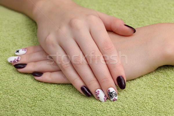 Handen handdoek vinger nagel Stockfoto © simazoran