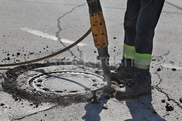 Сток-фото: асфальт · работник · строительная · площадка · дороги · строительство · работу