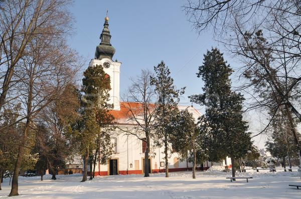 Ortodoxo igreja cristão céu neve adorar Foto stock © simazoran