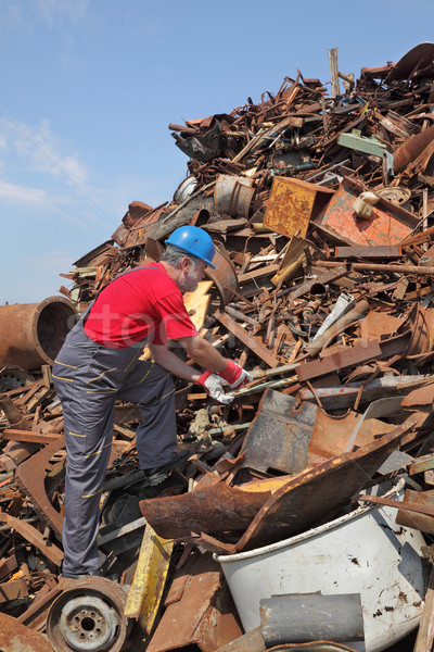 Recycling industry, worker at heap of old metal Stock photo © simazoran