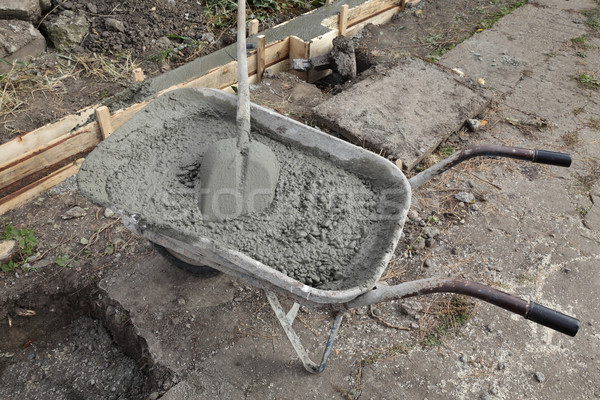 Concrete with shovel in a wheelbarrow Stock photo © simazoran