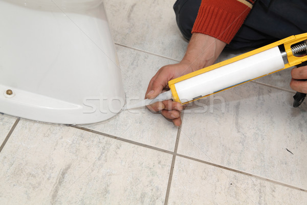 Vízvezetékszerelő megjavít wc illemhely szilikon patron Stock fotó © simazoran