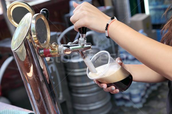 Bier donkere plastic glas tik Stockfoto © simazoran