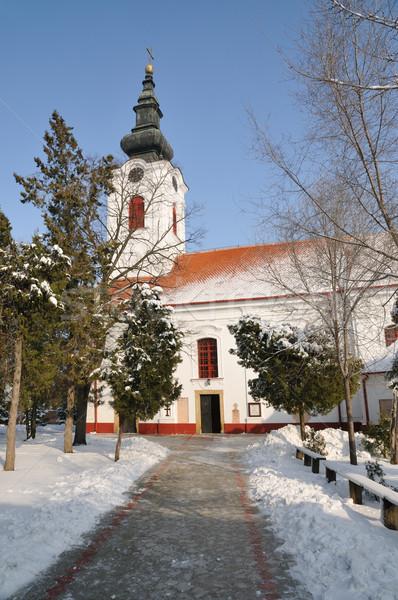 Ortodoxo iglesia Christian cielo nieve culto Foto stock © simazoran