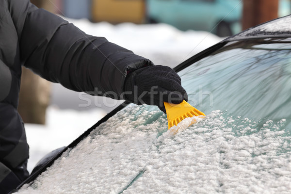 Winter scene, driver cleaning windshield of car Stock photo © simazoran