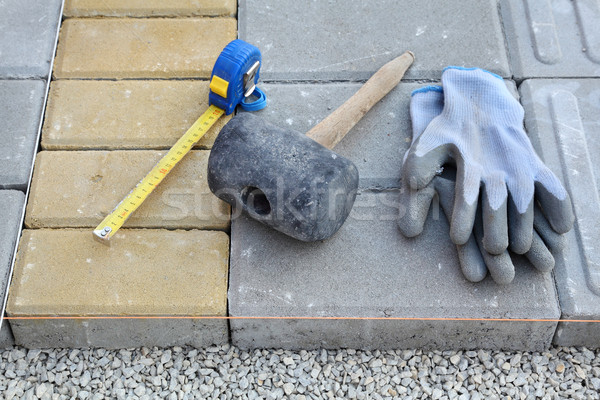 Construction site, brick paver Stock photo © simazoran