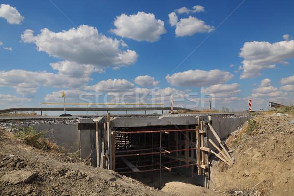 Piccolo ponte autostrada strada ricostruzione cielo blu Foto d'archivio © simazoran