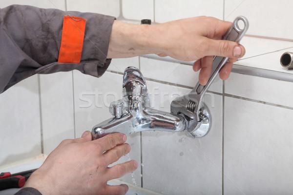 配管 手 給水栓 スパナ 建設 ストックフォト © simazoran