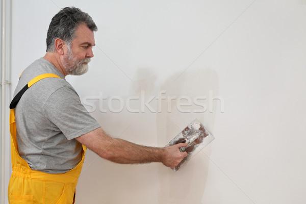 Werknemer gips muur huis bouw Stockfoto © simazoran