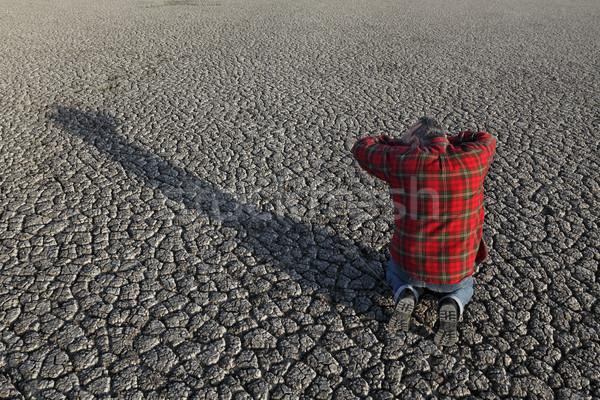 Gazda aszály mező kétségbeesett férfi térdel Stock fotó © simazoran