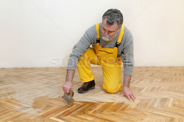 Home renovation, oak parquet varnishing finish Stock photo © simazoran