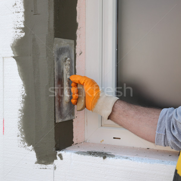 Stock photo: House renovation, polystyrene wall insulation