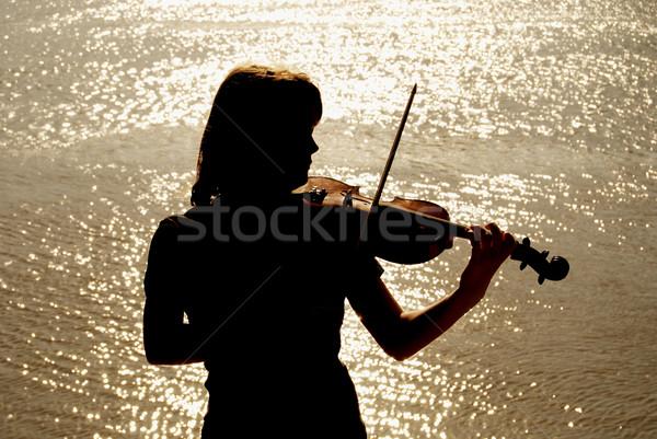 バイオリン プレーヤー シルエット 十代の 日没 女性 ストックフォト © simazoran