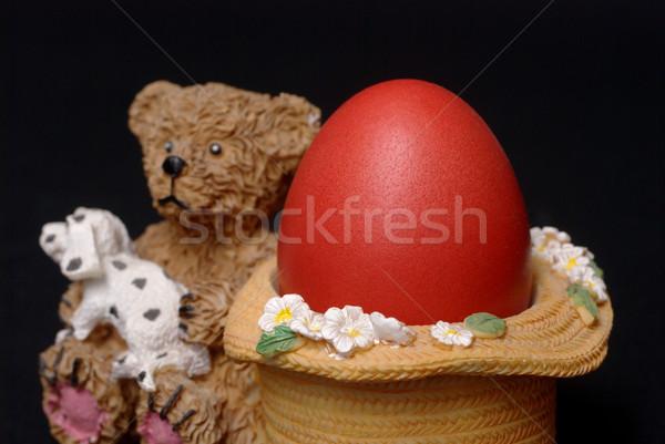 Pascua rojo huevo de Pascua huevo trigo color Foto stock © simazoran