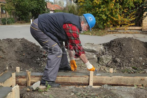 Trabajador de la construcción concretas base trabajador Foto stock © simazoran