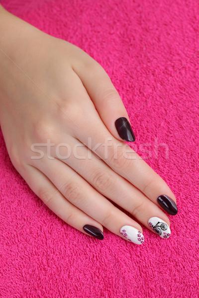 Hand handdoek vinger nagel Stockfoto © simazoran