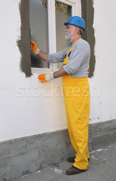 Ev duvar yalıtım işçi el Stok fotoğraf © simazoran