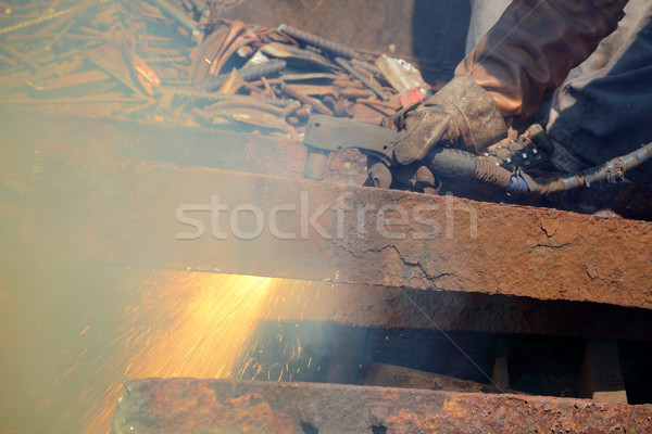 Plasma Schneiden Metall Recycling Ausrüstung Bau Stock foto © simazoran