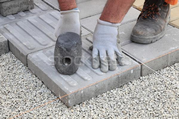 строительная площадка кирпичных работник конкретные тротуар Сток-фото © simazoran