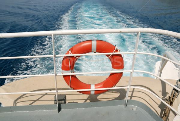 Reddingsboei veiligheid schip dek veiligheid oranje Stockfoto © simazoran