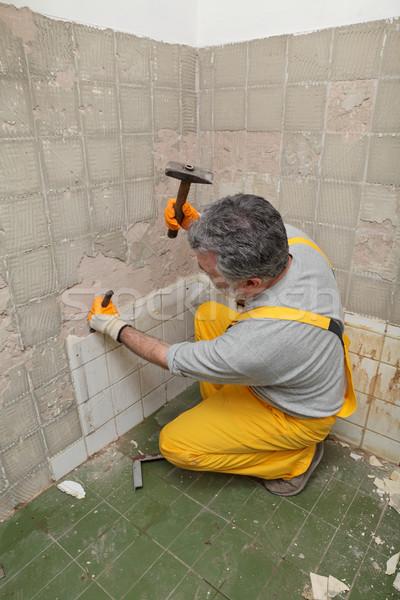 Home tegel volwassen werknemer oude Stockfoto © simazoran